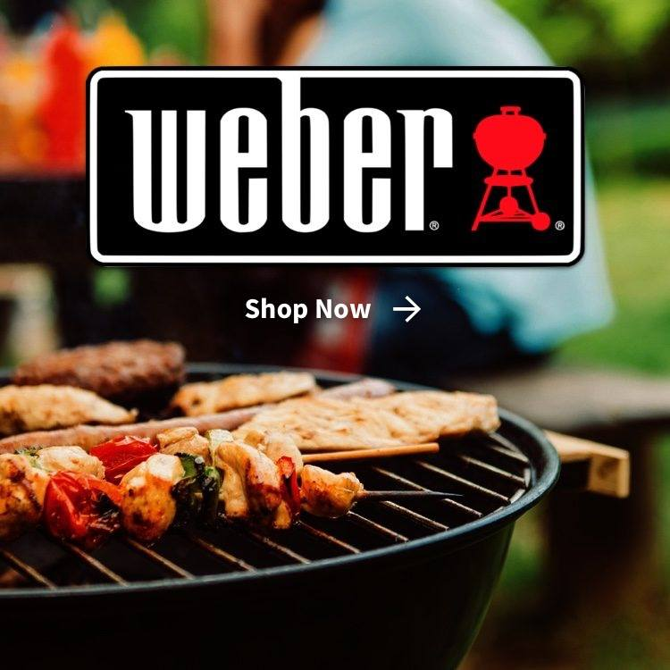 Weber logo with food cooking on weber grill and shop now arrow