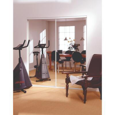 Erias 4260 Series 47 In. W. x 80-1/2 In. H. Bright White Bottom Roll Mirrored Bypass Door