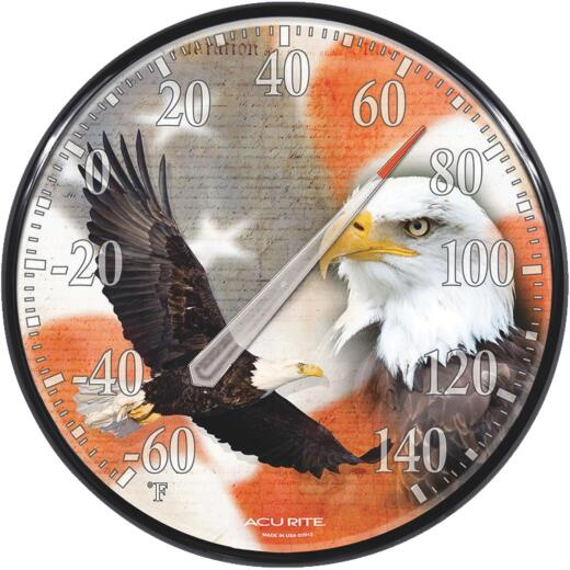 "Acurite 12.5"" Dia Plastic Dial Eagle/Flag Indoor & Outdoor Thermometer"