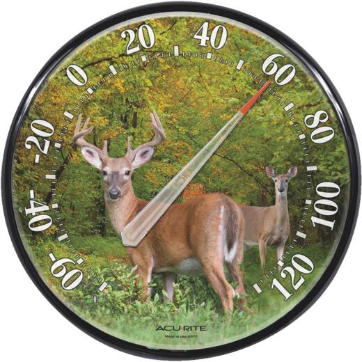 "Acurite 12-1/2"" Dia Plastic Dial Deer Indoor & Outdoor Thermometer"