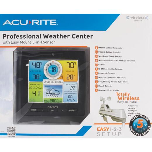 Acu-Rite 5-in-1 Wireless Color Wind and Rain Professional Weather Center Station