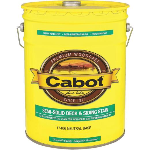 Cabot VOC Semi-Solid Deck & Siding Stain, Neutral Base, 5 Gal.