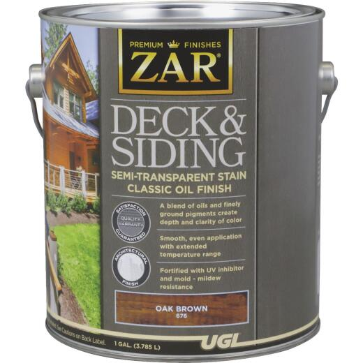 ZAR Semi-Transparent Deck and Siding Stain, Oak Brown, Gallon